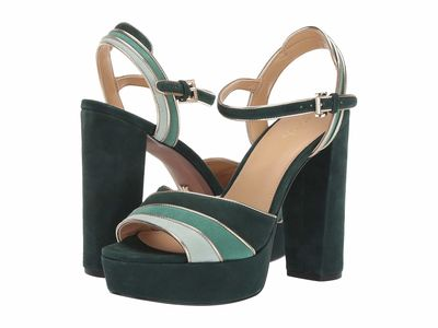 Michael Michael Kors - Michael Michael Kors Women Racing Green Multi Harper Platform Heeled Sandals