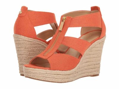 Michael Kors - MICHAEL Michael Kors Women's Tangerine Small Weave Canvas Jute Damita Wedge Heeled Sandals