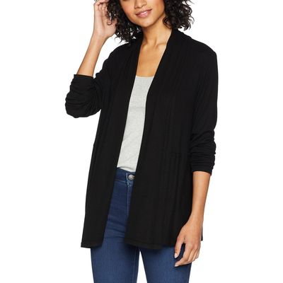 Michael Stars - Michael Stars Black 2X1 Rib Long Sleeve Cardigan