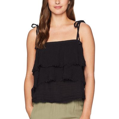 Michael Stars - Michael Stars Black Double Gauze Multi-Wear Tiered Top