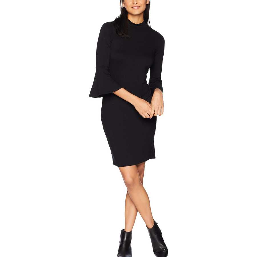 Michael Stars Black Elevated French Terry Bell Sleeve Dress