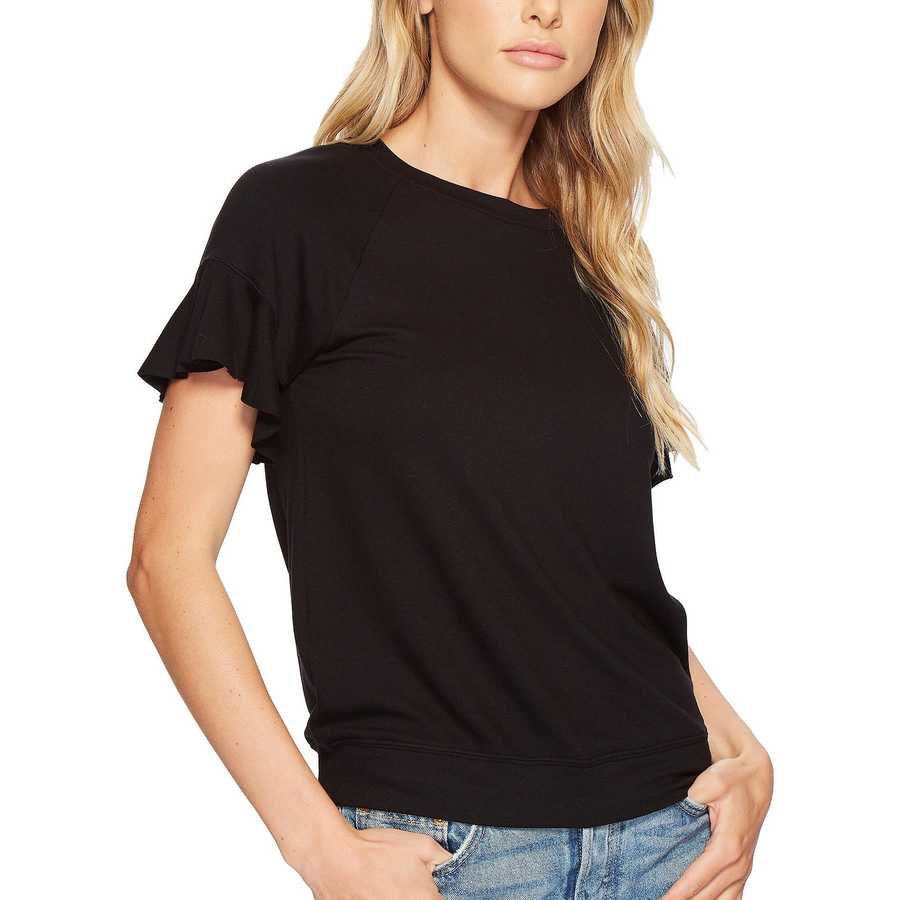 Michael Stars Black Elevated French Terry Flutter Sleeve Tee