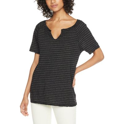 Michael Stars - Michael Stars Black Linen Stripe Short Sleeve Split Neck Tee