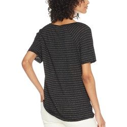 Michael Stars Black Linen Stripe Short Sleeve Split Neck Tee - Thumbnail