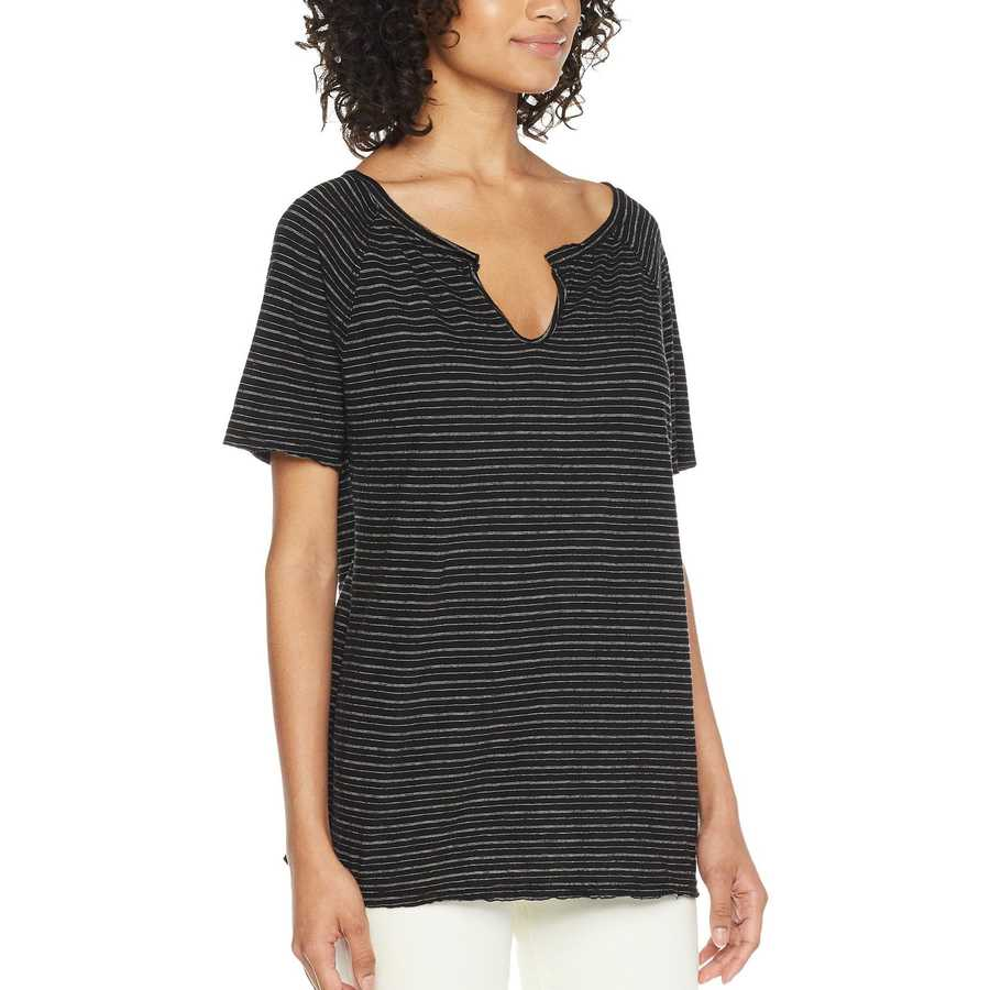 Michael Stars Black Linen Stripe Short Sleeve Split Neck Tee
