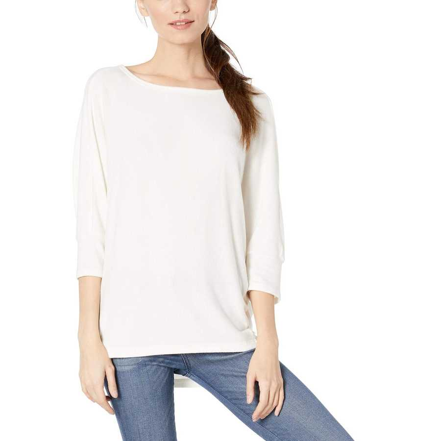 Michael Stars Chalk Brielle Madison Brushed Jersey Super Soft Cocoon Top