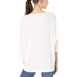 Michael Stars Chalk Brielle Madison Brushed Jersey Super Soft Cocoon Top - Thumbnail