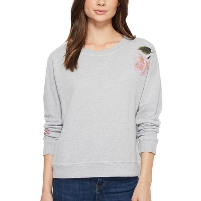 Michael Stars - Michael Stars Heather Grey French Terry Reversible Pullover With Flowers