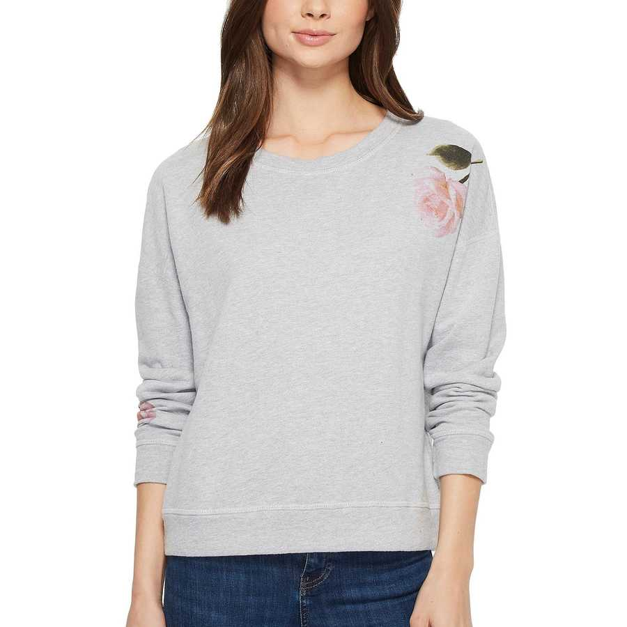 Michael Stars Heather Grey French Terry Reversible Pullover With Flowers