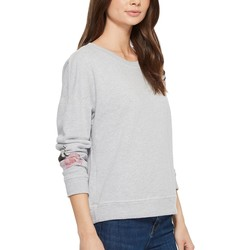 Michael Stars Heather Grey French Terry Reversible Pullover With Flowers - Thumbnail