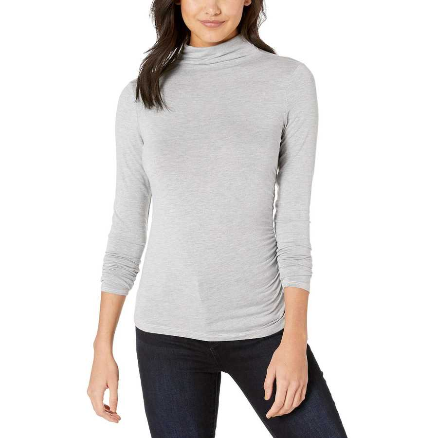 Michael Stars Heather Grey Jules Jersey Long Sleeve Mock Neck Side Ruched Tee