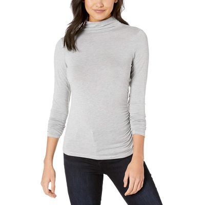 Michael Stars - Michael Stars Heather Grey Jules Jersey Long Sleeve Mock Neck Side Ruched Tee