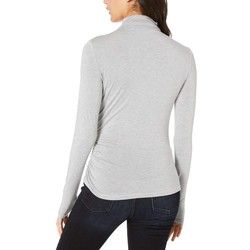 Michael Stars Heather Grey Jules Jersey Long Sleeve Mock Neck Side Ruched Tee - Thumbnail