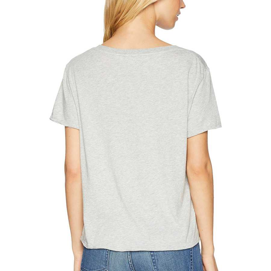 Michael Stars Heather Grey Ultra Jersey Cropped V-Neck Tee