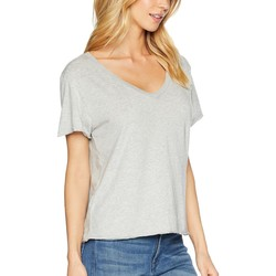 Michael Stars Heather Grey Ultra Jersey Cropped V-Neck Tee - Thumbnail