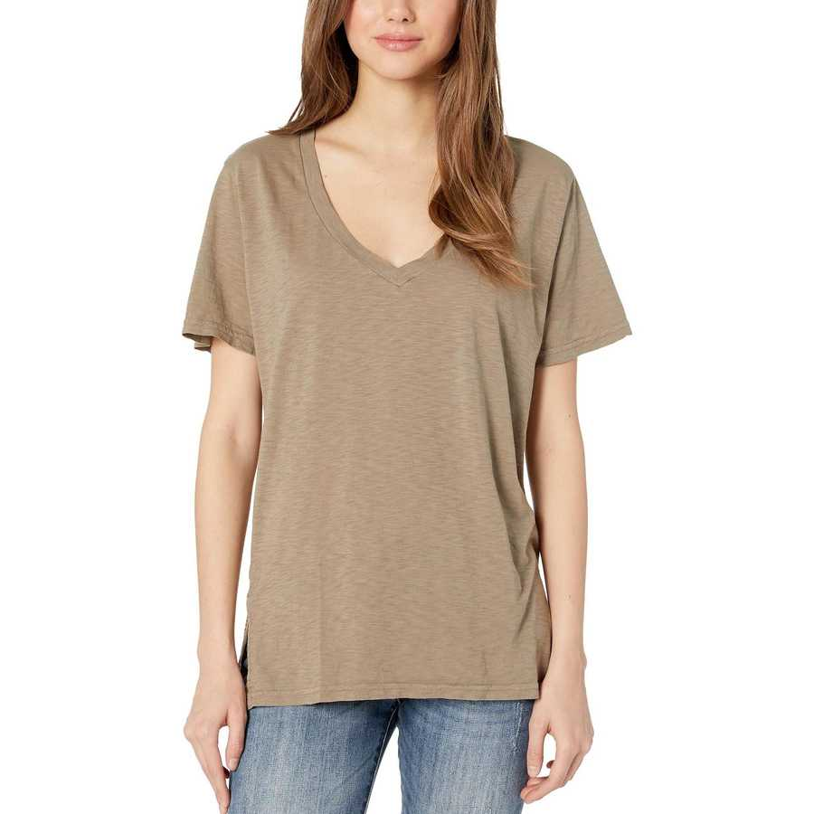 Michael Stars Olive Supima Cotton Slub V-Neck