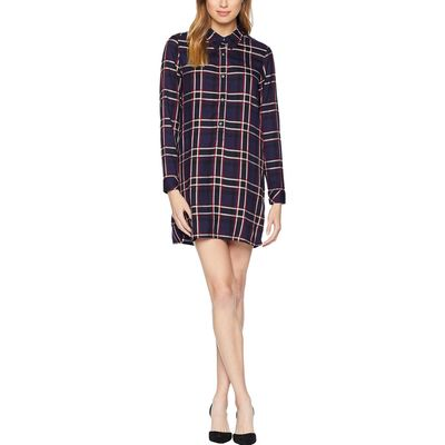Michael Stars - Michael Stars Passport Woven Plaid Henley Shirtdress