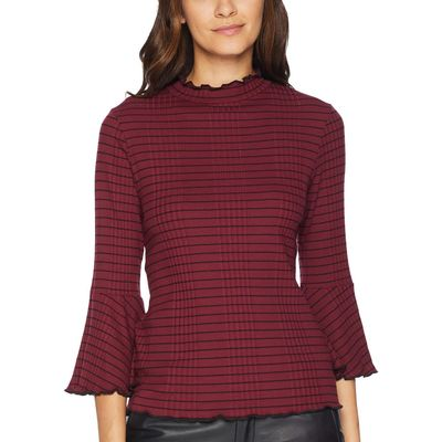 Michael Stars - Michael Stars Pinot Rachel Stripe 3/4 Sleeve Mock Neck Top