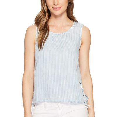Michael Stars - Michael Stars Stripe Linen Denim Tencel Tank Top With Side Lace-Up