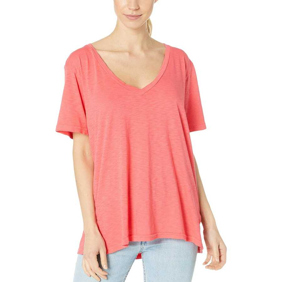 Michael Stars Teaberry Supima Cotton Slub V-Neck