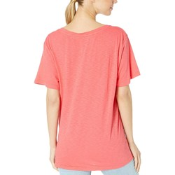 Michael Stars Teaberry Supima Cotton Slub V-Neck - Thumbnail