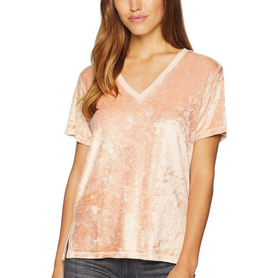 Michael Stars Whisper Velvet Short Sleeve V-Neck Slouchy Tee
