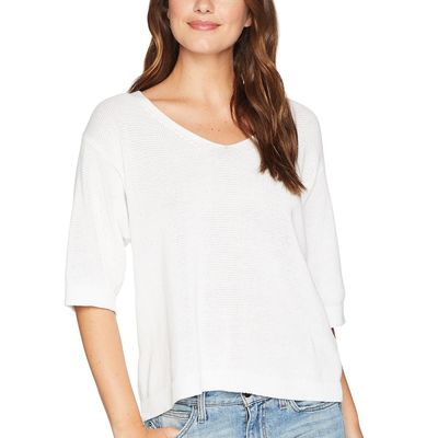Michael Stars - Michael Stars White Cotton Knits Elbow Sleeve Sweater With Back Detail