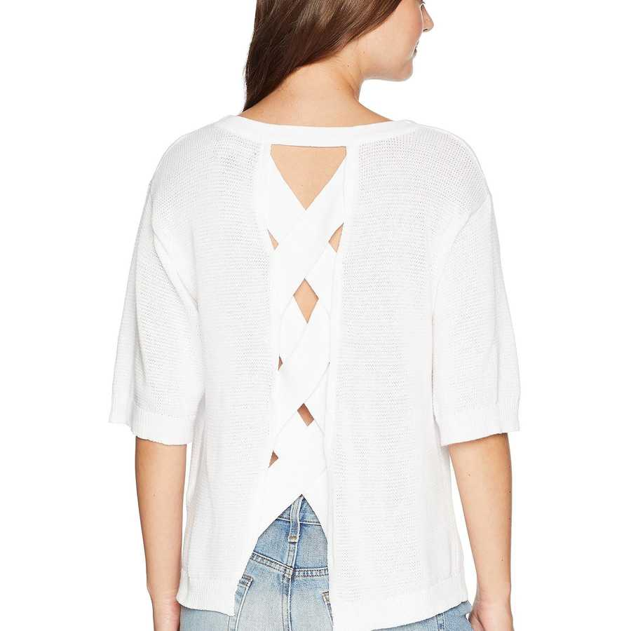 Michael Stars White Cotton Knits Elbow Sleeve Sweater With Back Detail