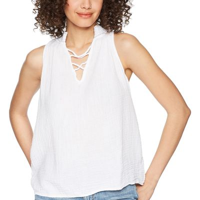 Michael Stars - Michael Stars White Double Gauze Embroidered Swing Tank