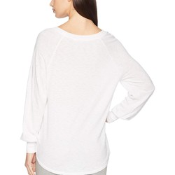 Michael Stars White Supima Cotton Slub Puffed Long Sleeve Boat Neck Top - Thumbnail