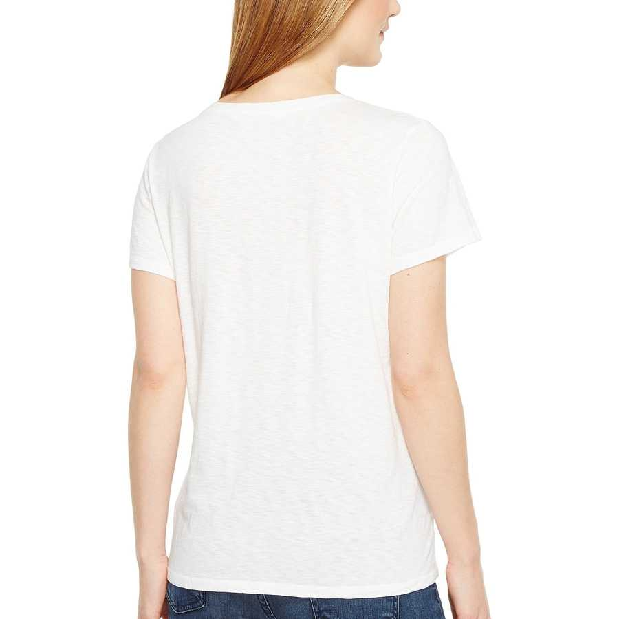 Michael Stars White Supima Cotton Slub Short Sleeve Lace-Up Tee