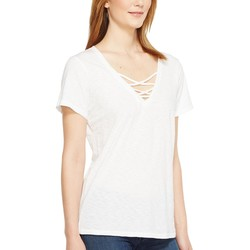Michael Stars White Supima Cotton Slub Short Sleeve Lace-Up Tee - Thumbnail