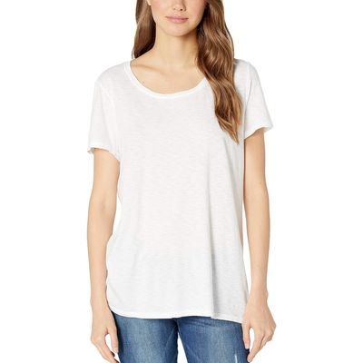 Michael Stars - Michael Stars White Supima Cotton Slub Wendy Short Sleeve High-Low Tee