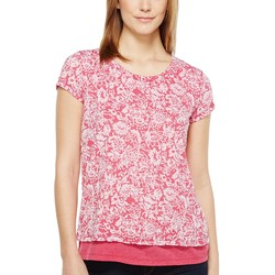 Mod-O-Doc Berry Red Wildflower Burnout Jersey Double Layer Short Sleeve Tee - Thumbnail