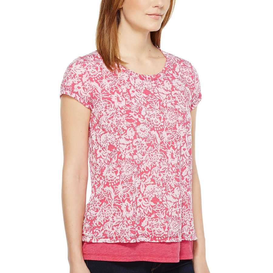 Mod-O-Doc Berry Red Wildflower Burnout Jersey Double Layer Short Sleeve Tee