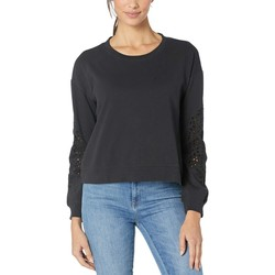 Mod-O-Doc Black Cotton Interlock Sweatshirt With Embroidered Sleeves - Thumbnail