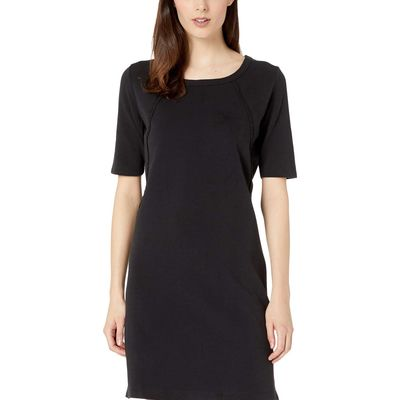 Mod-O-Doc - Mod-O-Doc Black Cotton Interlock T-Shirt Dress With Side Zip And Hand Stitch