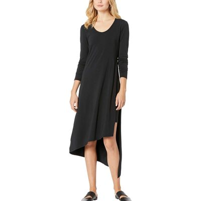 Mod-O-Doc - Mod-O-Doc Black Cotton Modal Spandex Jersey Long Sleeve Double Layer High Side Slit Dress