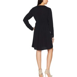 Mod-O-Doc Black Sandwashed Twill Mandarin Collar Tuxedo Pleat Dress - Thumbnail