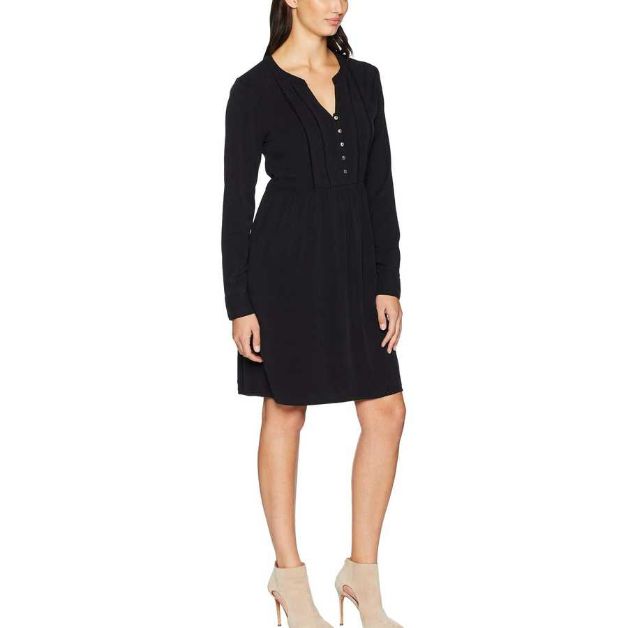 Mod-O-Doc Black Sandwashed Twill Mandarin Collar Tuxedo Pleat Dress