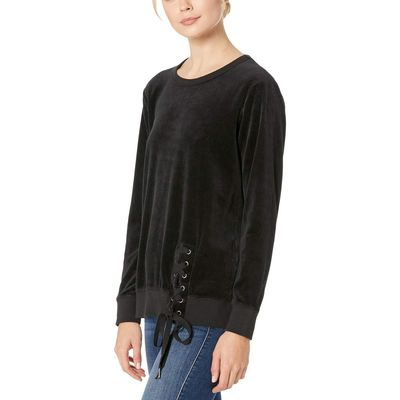Mod-O-Doc Black Velour Sweatshirt With Asymmetrical Lace-Up