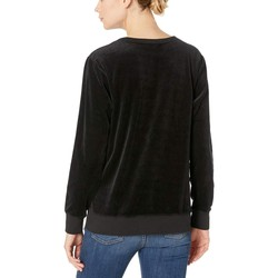 Mod-O-Doc Black Velour Sweatshirt With Asymmetrical Lace-Up - Thumbnail