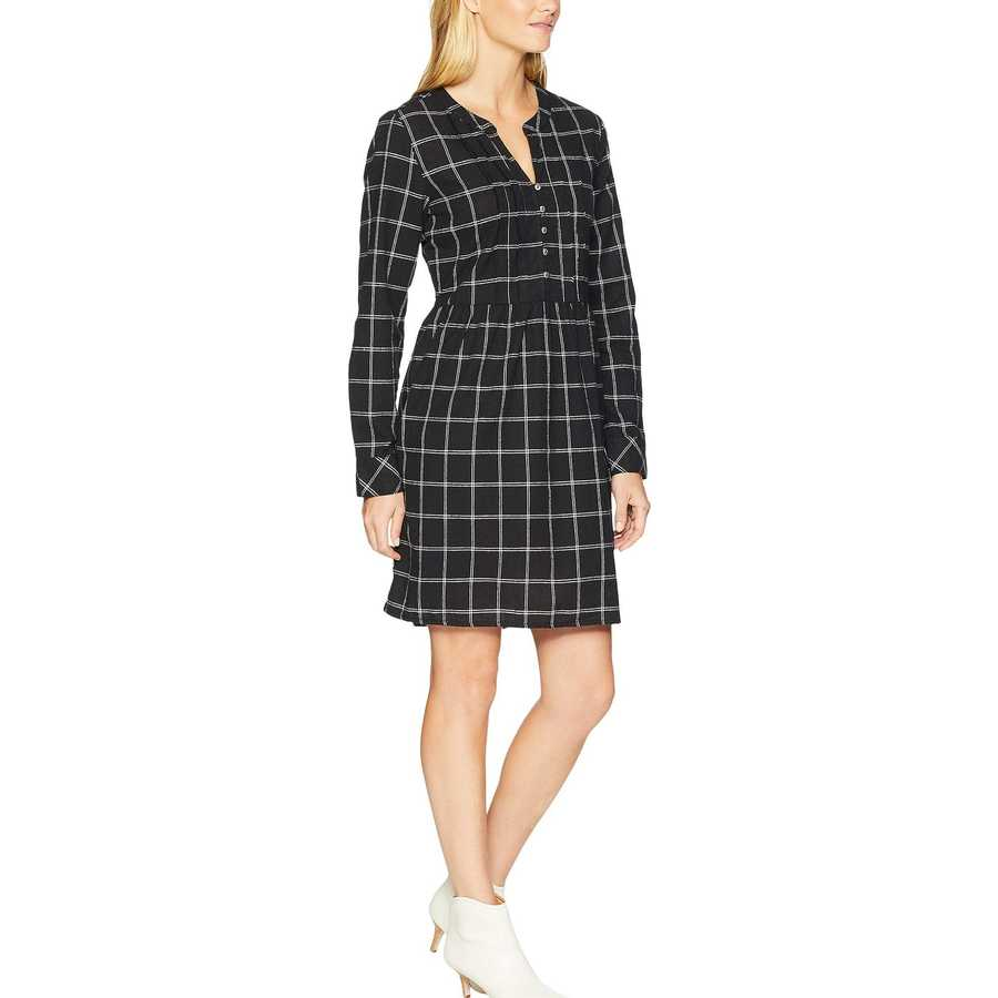 Mod-O-Doc Black Windowpane Flannel Plaid Mandarin Collar Tuxedo Pleat Dress