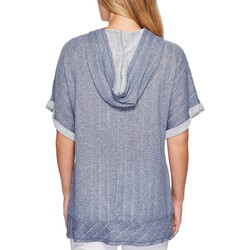 Mod-O-Doc Blue Pointelle Stripe French Terry Dolman Sleeve Pullover Hoodie - Thumbnail