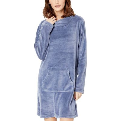 Mod-O-Doc - Mod-O-Doc Blueprint Plush Sherpa Twisted Collar Lounge Dress