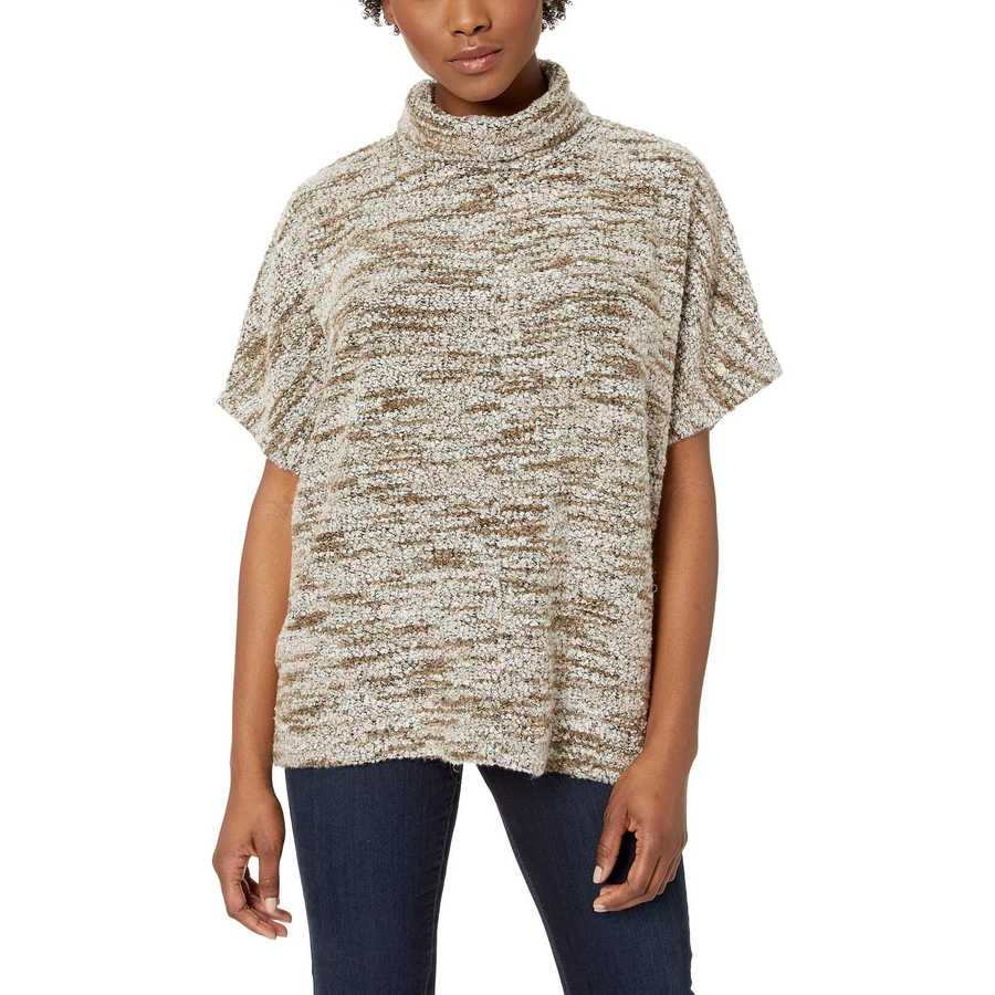 Mod-O-Doc Camellia Boucle Slouchy Funnel Neck Short Sleeve Pullover
