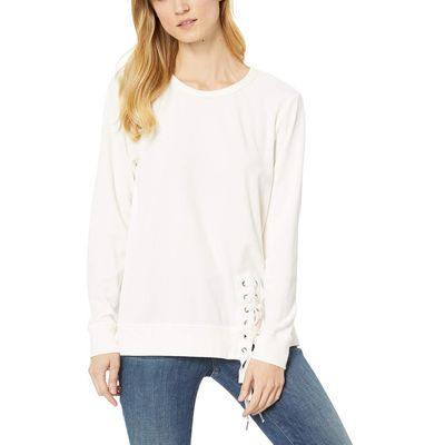 Mod-O-Doc Camellia Velour Sweatshirt With Asymmetrical Lace-Up