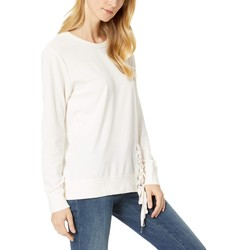 Mod-O-Doc Camellia Velour Sweatshirt With Asymmetrical Lace-Up - Thumbnail