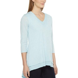 Mod-O-Doc Cool Sky Burnout Jersey Double Layer V-Neck Tee - Thumbnail