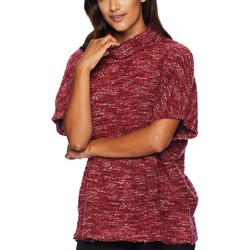 Mod-O-Doc Cranberry Boucle Slouchy Funnel Neck Short Sleeve Pullover - Thumbnail
